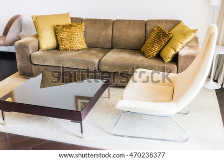 comfortable orange velvet couch patterned pillows stock photo 23435440 shutterstock. Black Bedroom Furniture Sets. Home Design Ideas