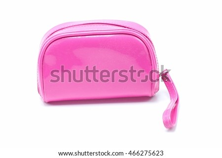 Beautiful pink makeup bag isolated on white background