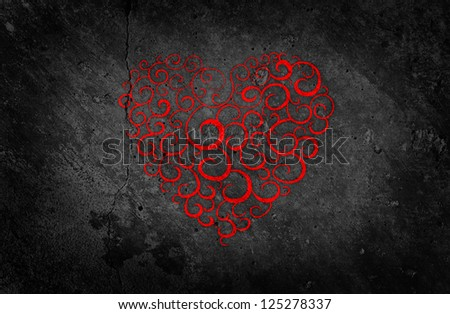 Beautiful Red Heart on Black Background