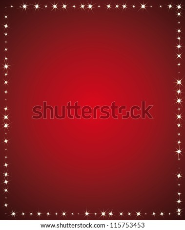 Beautiful red holidays background. Starry frame with empty space for communication or greeting card.