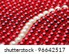 beautiful red necklace on white background - stock photo