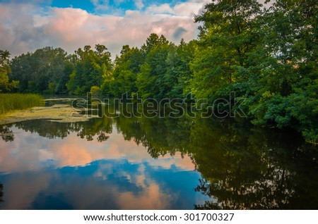 Beautiful river in the early morning in summer