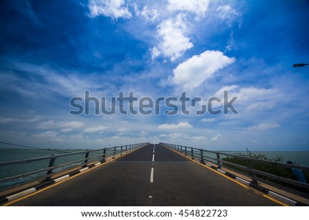 Beautiful road to Mannar from jaffna in Sri Lanka