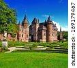 beautiful romantic holland castle de Haar - stock photo