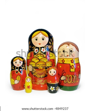 Beautiful Russian Matreshka with Russian traditional bread