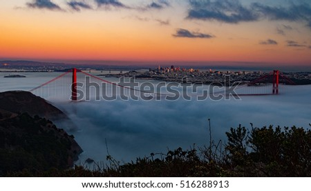Beautiful scenic San Francisco City Skyline and Golden Gate Bridge. California San Francisco Peninsula to Marin County, carrying both U.S. Route 101 and California State Route 1.