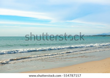 beautiful sea, sand and blue sky in Khao Lak, Thailand