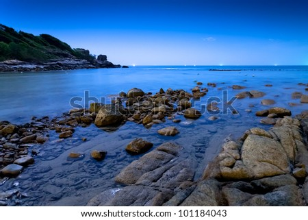 Beautiful sea with rock foreground on Koh Samet island, Gulf of Thailand, Rayong, Thailand