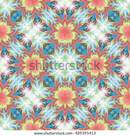 Beautiful seamless flower pattern in fractal design. Artwork for creative design, art and entertainment.