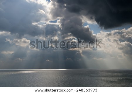 Beautiful seascape - dramatic clouds over the sea