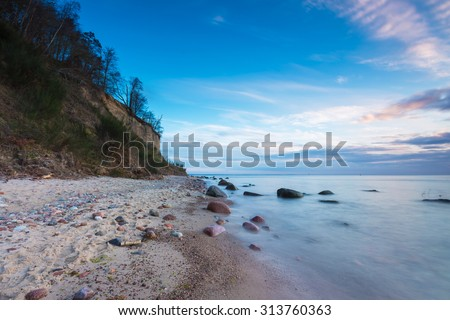 Beautiful seascape of Baltic Sea shore in Poland. Beautiful place for a walk