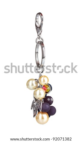 beautiful silver keychain with precious stones isolated on white