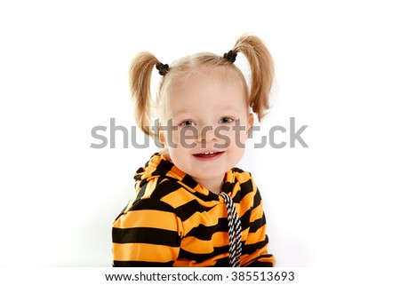 beautiful smiling little girl, white background