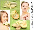 Beautiful smiling woman, bath soap, cosmetic and flowers - spa collage - stock photo