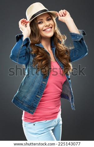 beautiful smiling woman portrait in youth fashion clothes style. big smile with teeth. studio background .