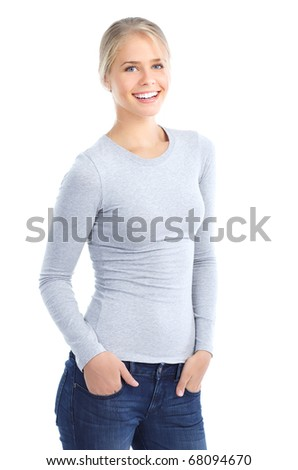 Beautiful smiling young woman. Isolated over white background