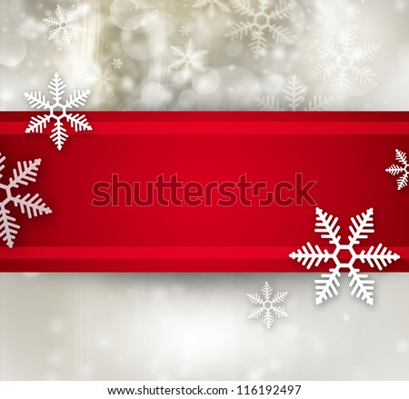 Beautiful snowflake Christmas background with red ribbon and copyspace