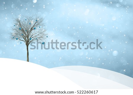 Beautiful snowy winter landscape with New Year decoration tree illustration background.