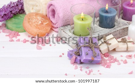 beautiful spa setting on white wooden background