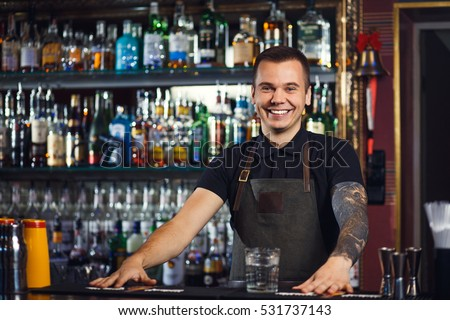 Beautiful stylish bartender posing in a bar