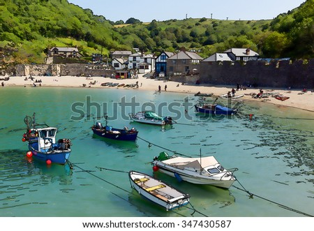 Beautiful summer day in the small English harbour at Polkerris Cornwall England uk bright colours illustration like cartoon effect