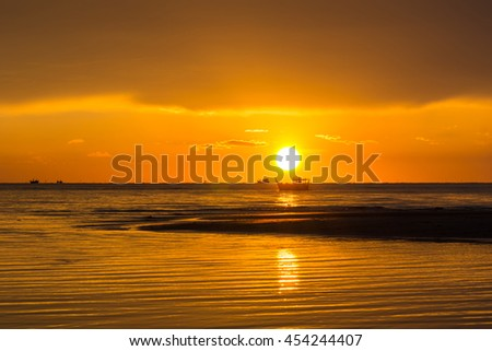 beautiful sunrise in the morning at the beach