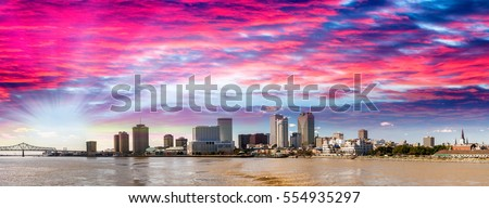 Beautiful sunset over New Orleans, Lousiana.