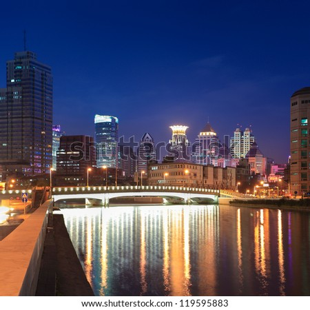 beautiful suzhou river at night in shanghai