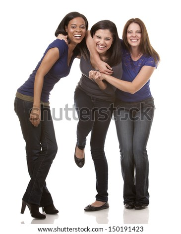 beautiful three women having fun on white isolated background
