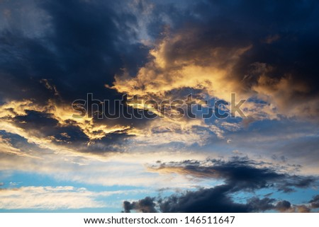 beautiful thunderstorm cloud at sunset