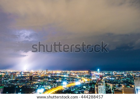 Beautiful thunderstorm lightning over bangkok city in Thailand