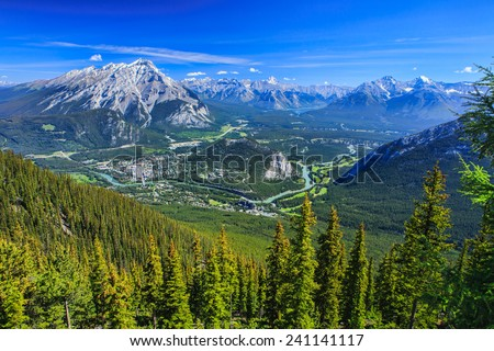 Beautiful town of Banff Nestled in Valley in Banff National Park, Canada