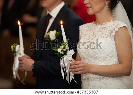 beautiful traditional wedding ceremony of stylish couple, Lviv, Ukraine