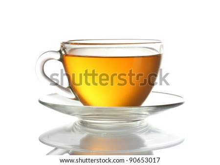 Beautiful transparent cup of tea isolated on white