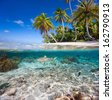 Beautiful tropical island in French Polynesia under and above water - stock