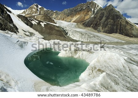Beautiful turquoise glacial lake. Karator glacier. Kuylu mountains, Central Tien-Shan, Kyrgyzstan.