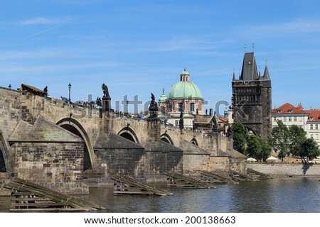 Beautiful view Charles bridge, Prague, Czech Republic