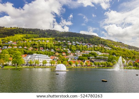 Beautiful view of Bergen city, Norway