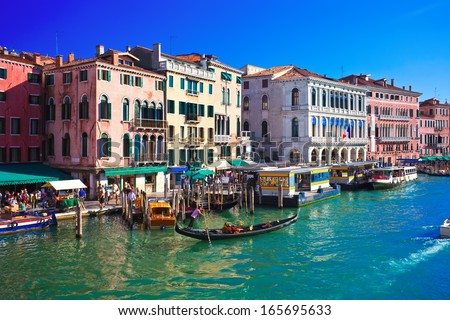 Beautiful view of famous Grand Canal in Venice, Italy, September 9, 2011