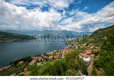 beautiful view of Lake Iseo with clouds and mountains