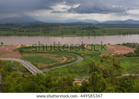 Beautiful view of Mekong river from the temple hill near Chiang Saen, Thailand. The Golden Triangle area - border between Thailand, Myanmar (Burma) and Laos.
