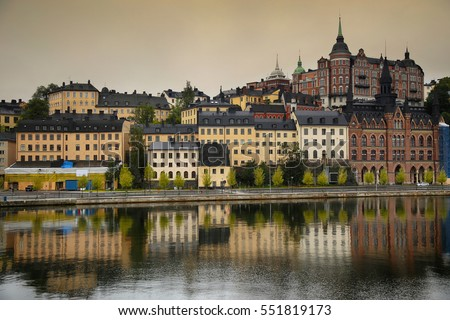 Beautiful view of Sodermalm district in Stockholm, Sweden