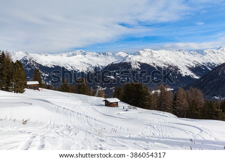 Beautiful view of the alps from Schatzalp in winter on a sunny day, Davos, Canton of Grisons, Switzerland.