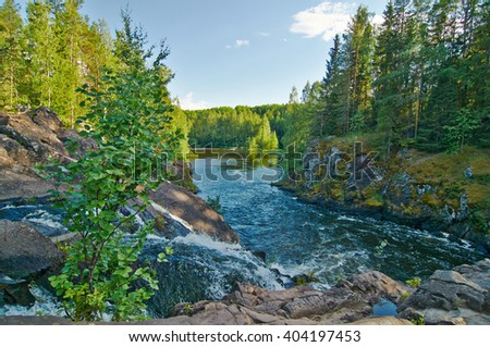 Beautiful view of the Kivach falls in the summer. Karelia, Russia