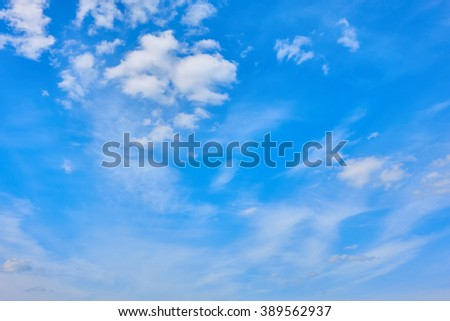 Beautiful views of  blue sky, white clouds arranged randomly