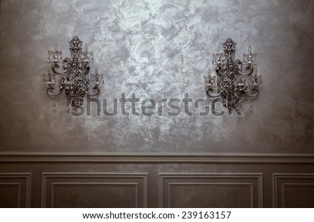 beautiful vintage room with vintage wall lamps. background for your work