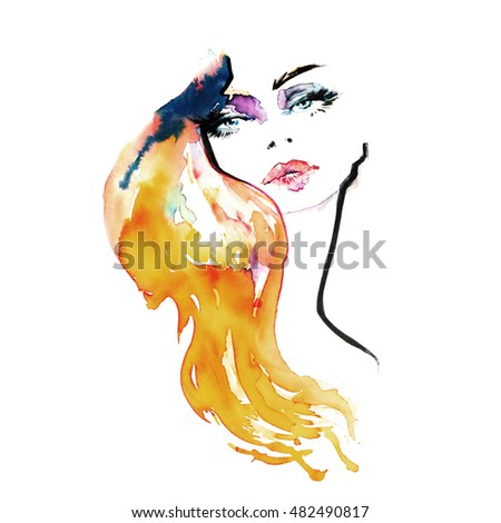 Beautiful watercolor fashion illustration woman portrait