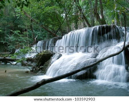 beautiful Waterfall in Kanchanaburi, Thailand