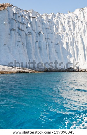 "beautiful white cliff called ""Cape Blanco"" overhanging the sea - Ponza Island"