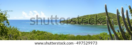 Beautiful wide panoramic of Melena Bay and Soldier Point with blue and turquoise sea bordered by dense green vegetation on Caribbean island of Isla Culebra in Puerto Rico